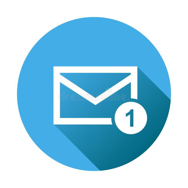 Mensagem do envelope do correio Ilustração do vetor no estilo liso no roun ilustração royalty free