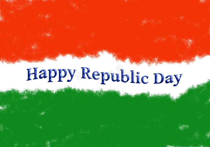 Mensagem do teste padrão da bandeira da Índia e do dia da república ilustração stock