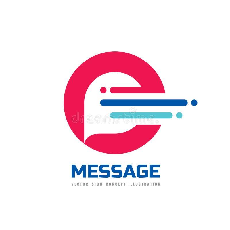 Mensagem - ilustração do conceito do molde do logotipo do vetor Sinal criativo da bolha do discurso Ícone do bate-papo do Interne ilustração do vetor