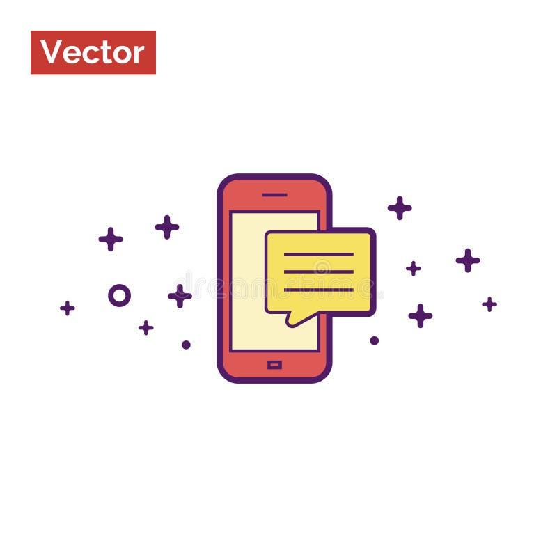 Mensagem móvel nas cores vermelhas e amarelas minimalistic ilustração stock