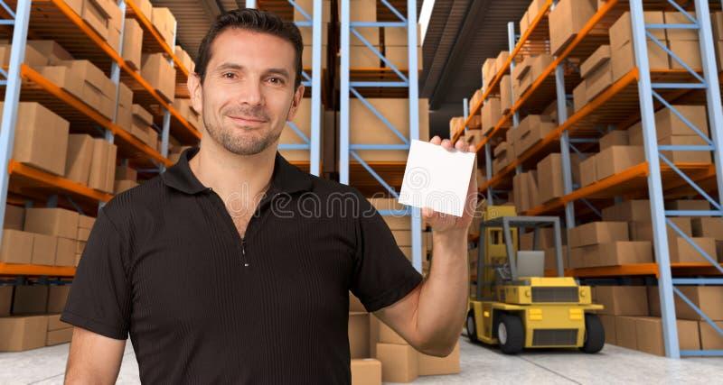 Mensagem no armazém de distribuição c foto de stock