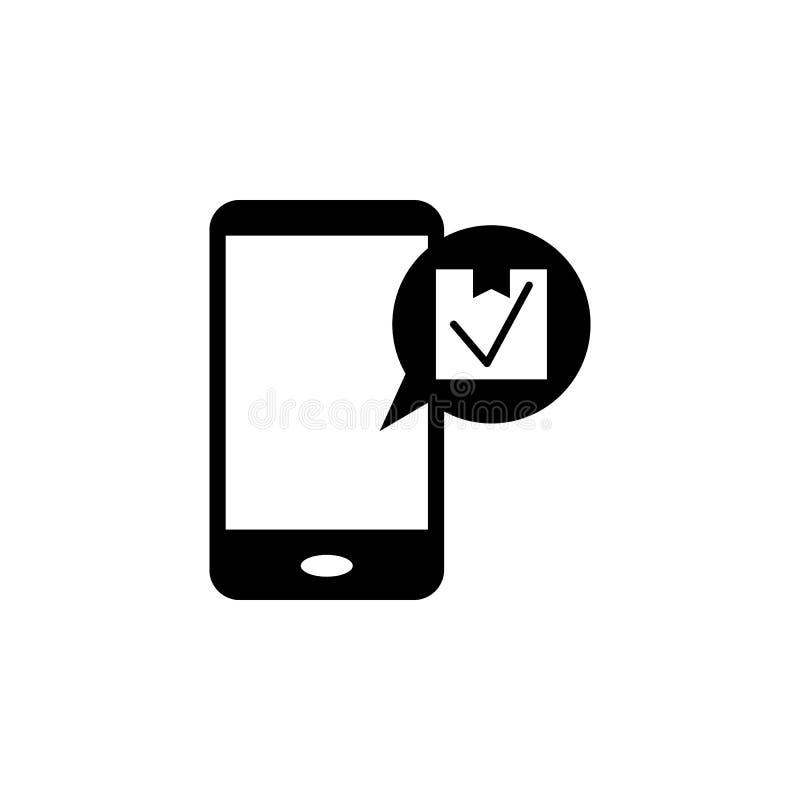 mensagem no telefone sobre a entrega do ícone dos bens Elemento do ícone da logística Ícone superior do projeto gráfico da qualid ilustração do vetor