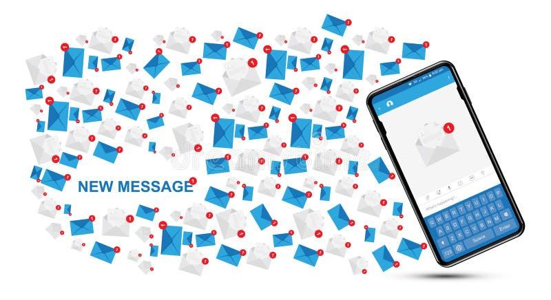Mensagem nova no smartphone realístico Conceito social com ícones da notificação o Internet Notificações sobre um novo ilustração stock