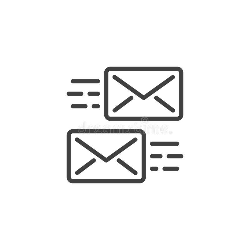 Mensagem que envia a linha ícone ilustração do vetor