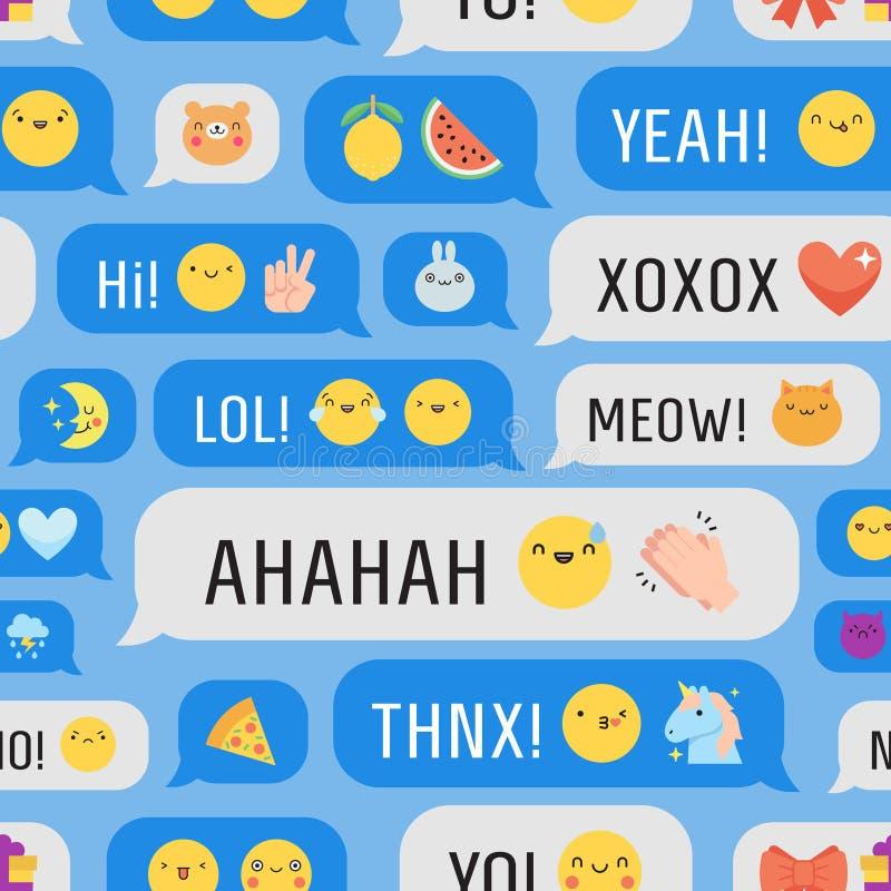 Mensagens com teste padrão sem emenda do vetor do emoji bonito ilustração stock