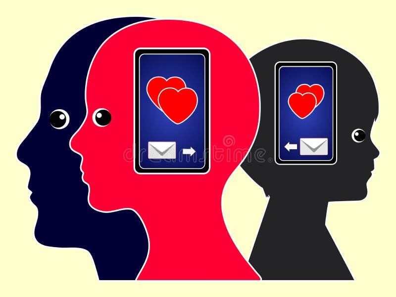 Mensagens do amor com telefones celulares ilustração royalty free