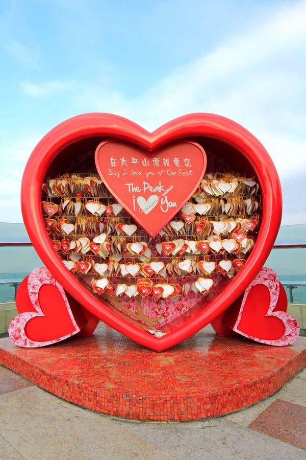 Mensagens do amor em Victoria Peak, Hong Kong imagens de stock royalty free