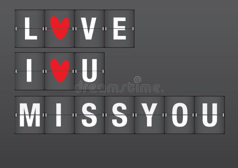 Mensagens do amor no aeroporto Flip Board ilustração do vetor