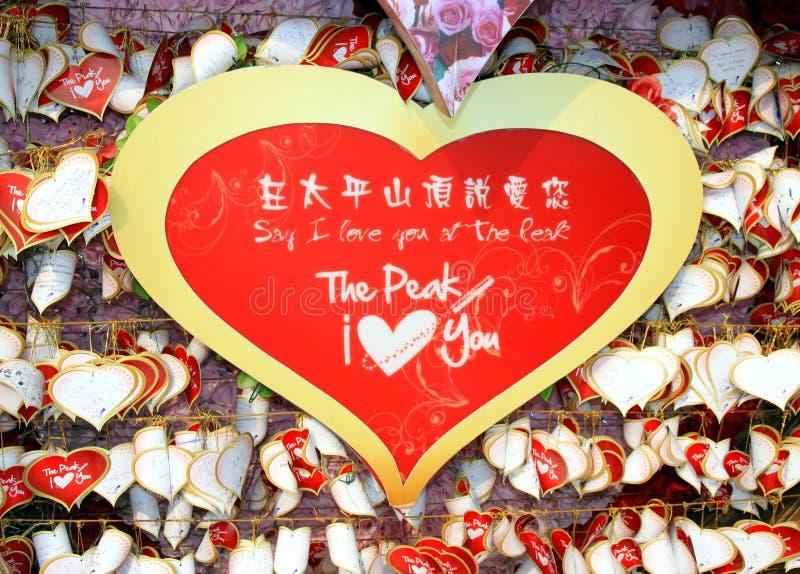 Mensagens do amor no pico de Victoria imagens de stock royalty free