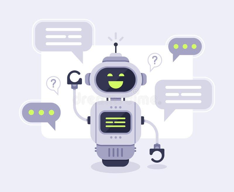 Mensagens do bot do bate-papo Conversação assistente do chatbot esperto, robô em linha do apoio ao cliente e fala para fazer à má ilustração do vetor