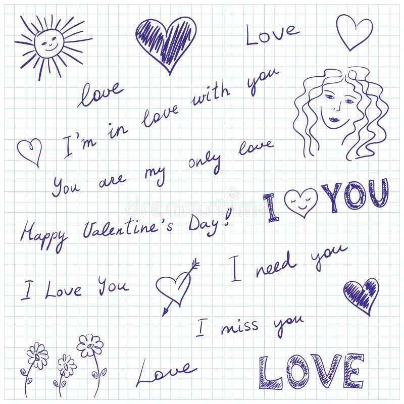 Mensagens e doodles do amor ilustração do vetor