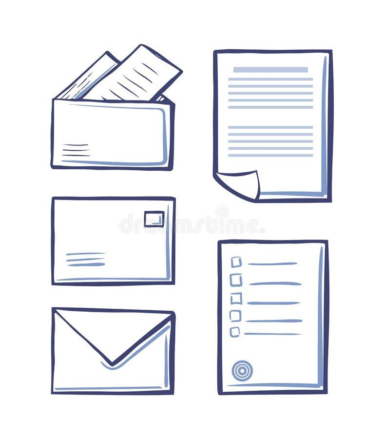 Mensagens e envelopes do escritório com vetor das páginas ilustração do vetor