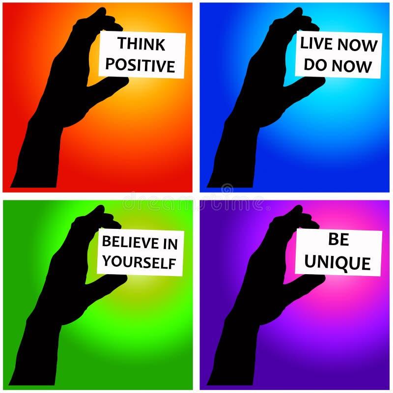 Mensagens positivas ilustração royalty free