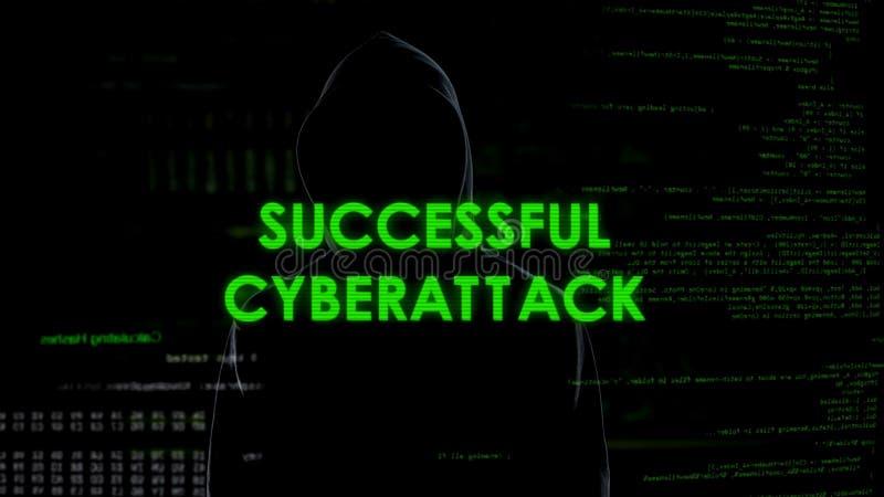 Mensaje acertado del cyberattack, pirata informático que consigue el acceso al sistema, ataque de la privacidad fotos de archivo