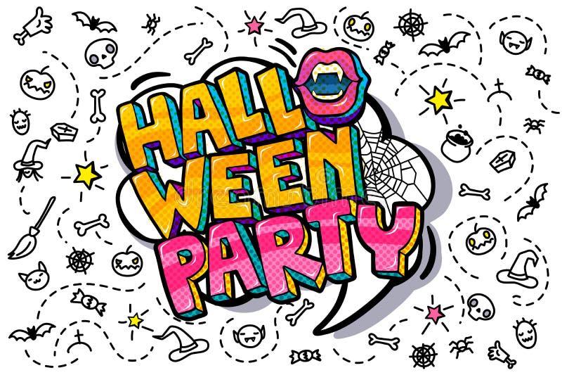 Mensaje boca y del partido abiertos de Halloween stock de ilustración