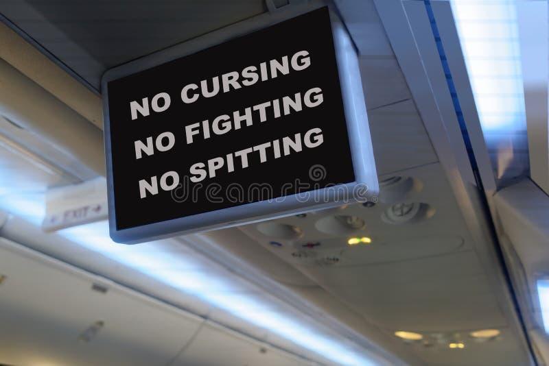 Mensaje chistoso del monitor del avión TV imagen de archivo