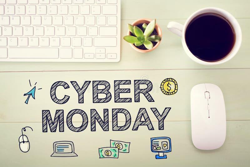 Mensaje cibernético de lunes con el puesto de trabajo imagenes de archivo