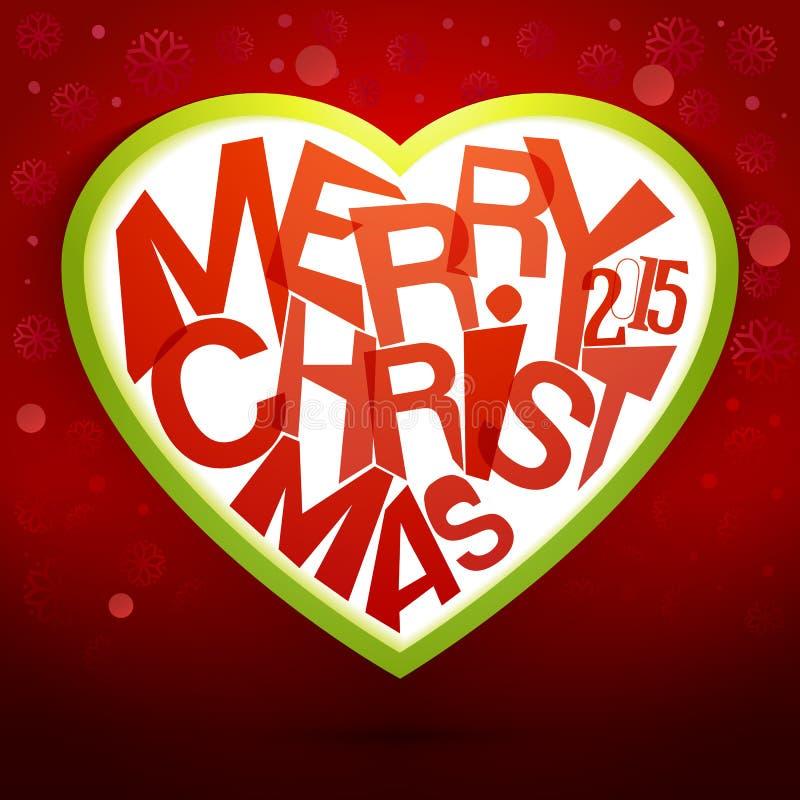 Mensaje colorido del corazón de la Feliz Navidad con las luces mágicas ilustración del vector
