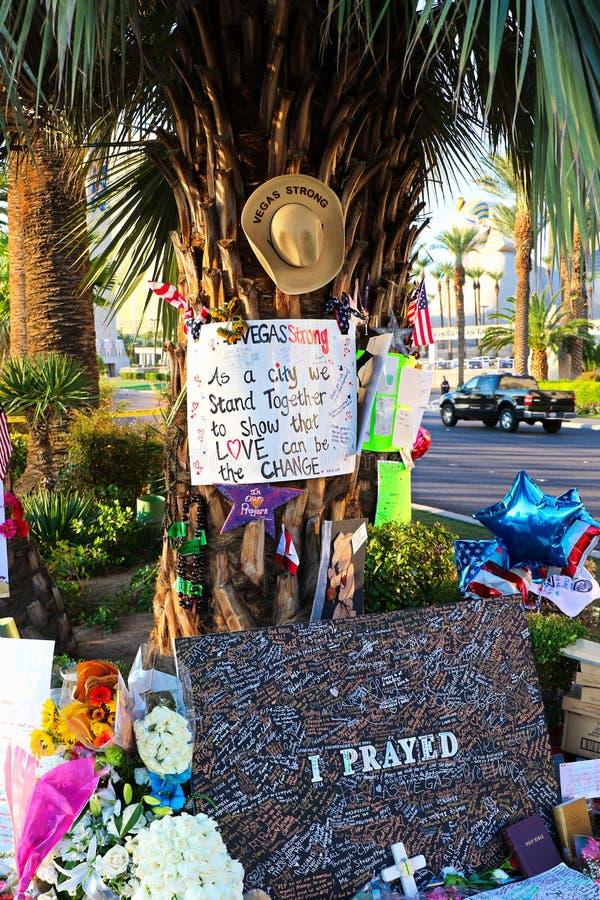Mensaje conmemorativo de las v?ctimas del tiroteo de Las Vegas imagen de archivo