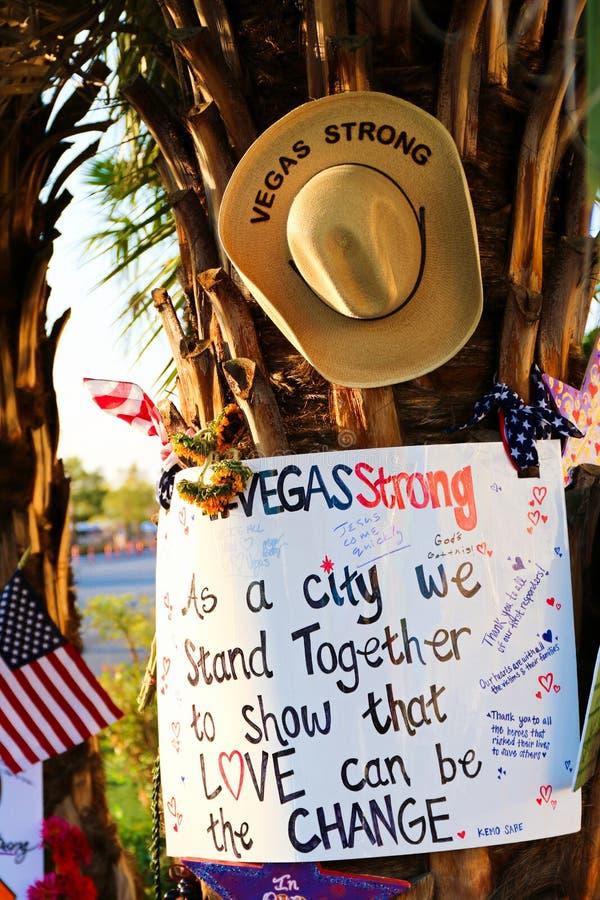 Mensaje conmemorativo de las v?ctimas del tiroteo de Las Vegas foto de archivo libre de regalías