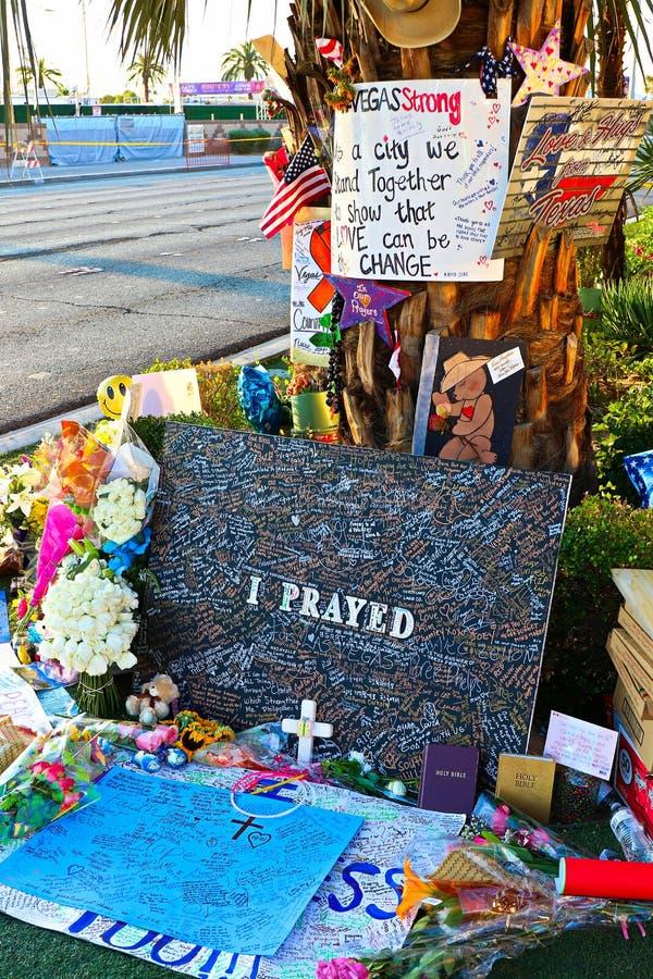 Mensaje conmemorativo de las v?ctimas del tiroteo de Las Vegas imágenes de archivo libres de regalías