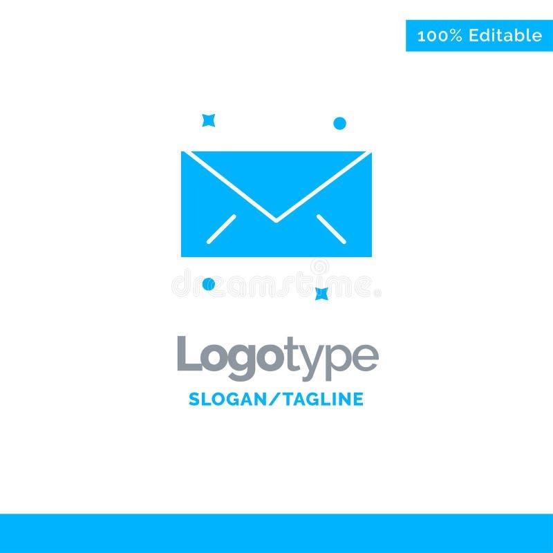 Mensaje, correo, correo electrónico Logo Template sólido azul Lugar para el Tagline stock de ilustración