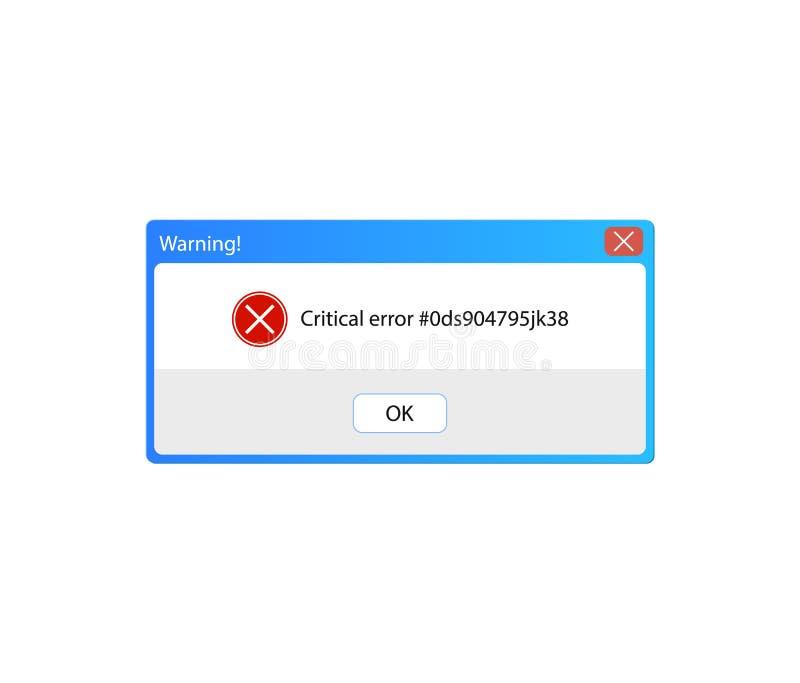 Mensaje de error del vector, ventana emergente amonestadora, interfaz de usuario del vintage, marco del fondo stock de ilustración