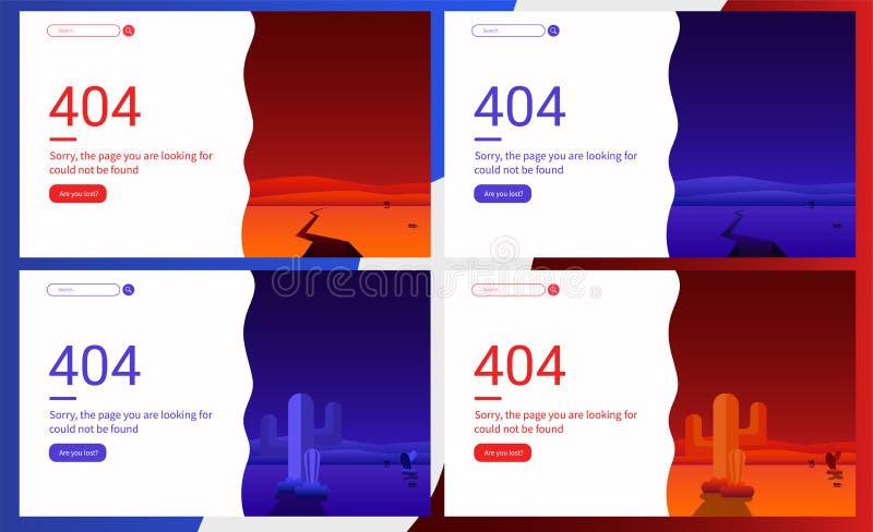 Mensaje de error 404 para la página web y diseño y desarrollo móviles de la página web Concepto creativo, f?ciles corregir y modi ilustración del vector