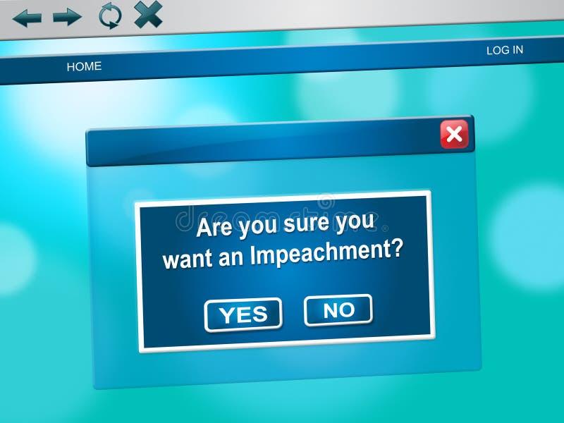 Mensaje de la acusación en línea para acusar a presidente corrupto Or Politician ilustración del vector