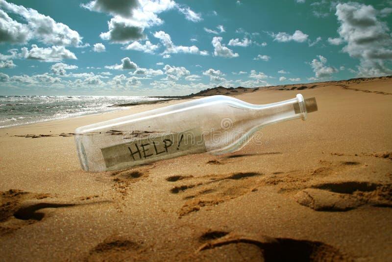 Mensaje de la ayuda en una botella stock de ilustración