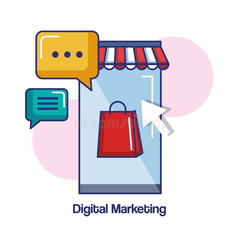 Mensaje de la charla de la tienda del teléfono móvil del márketing de Digitaces en línea ilustración del vector