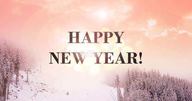 Mensaje de la Feliz Año Nuevo Fondo coralino de vida imagen de archivo