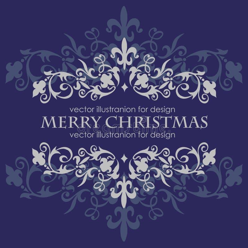 Mensaje de la Feliz Navidad y fondo azul marino stock de ilustración
