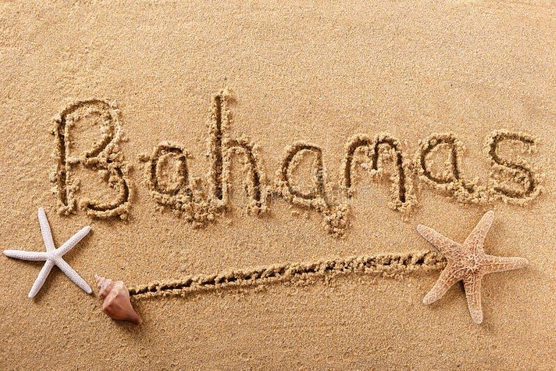 Mensaje de la muestra de la arena de la playa de Bahamas imagen de archivo libre de regalías