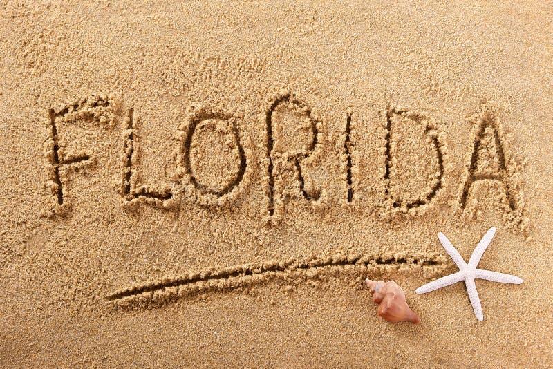 Mensaje de la muestra de la arena de la playa de la Florida fotos de archivo libres de regalías