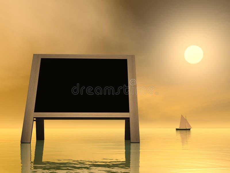 Mensaje de la puesta del sol - 3D rinden ilustración del vector
