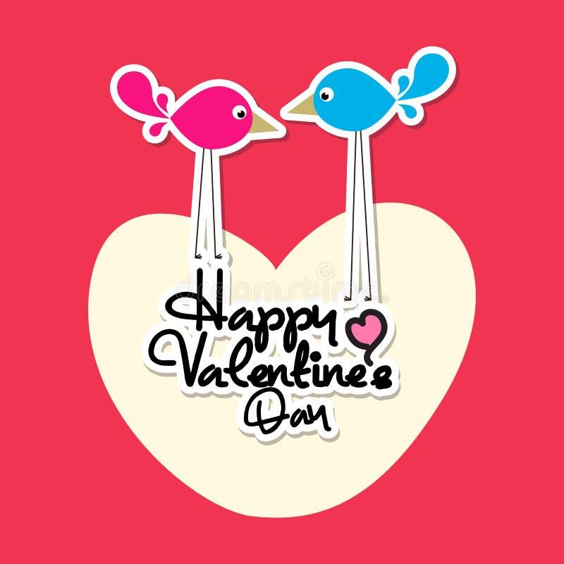 Mensaje de la tarjeta del día de San Valentín en corazón con 2 pájaros imagen de archivo libre de regalías