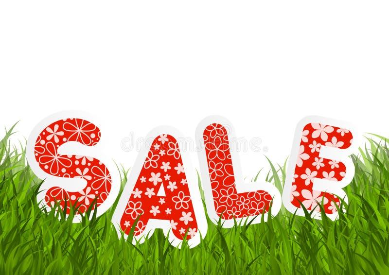 Mensaje de la venta en hierba verde stock de ilustración