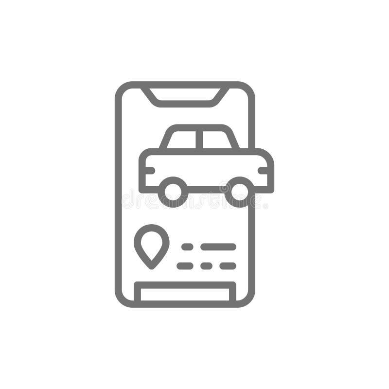 Mensaje de llegada de taxi, icono de línea de aplicación de servicio de taxi ilustración del vector