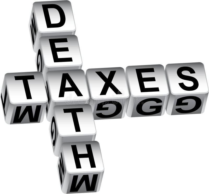 mensaje de los dados de la muerte 3D y de los impuestos ilustración del vector