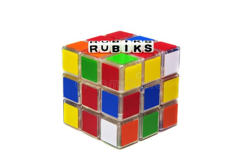 Mensaje de texto de Rubiks en el cubo fotografía de archivo