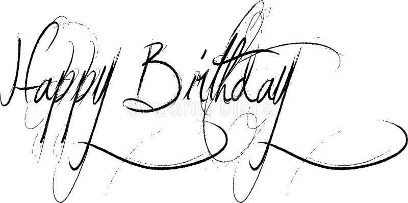 Mensaje de texto del feliz cumpleaños stock de ilustración
