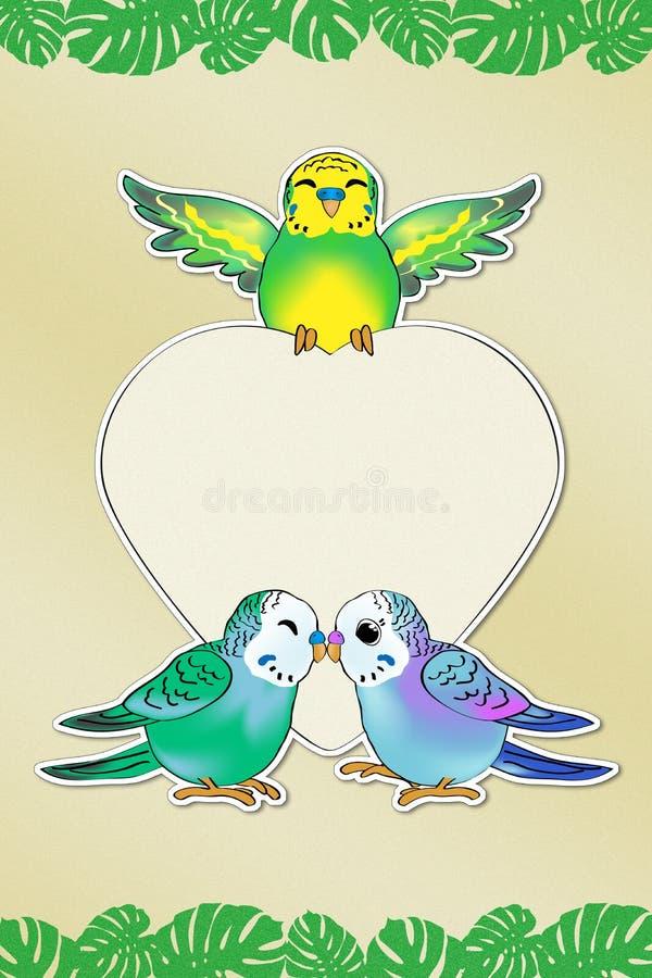 Mensaje del amor de Budgies ilustración del vector