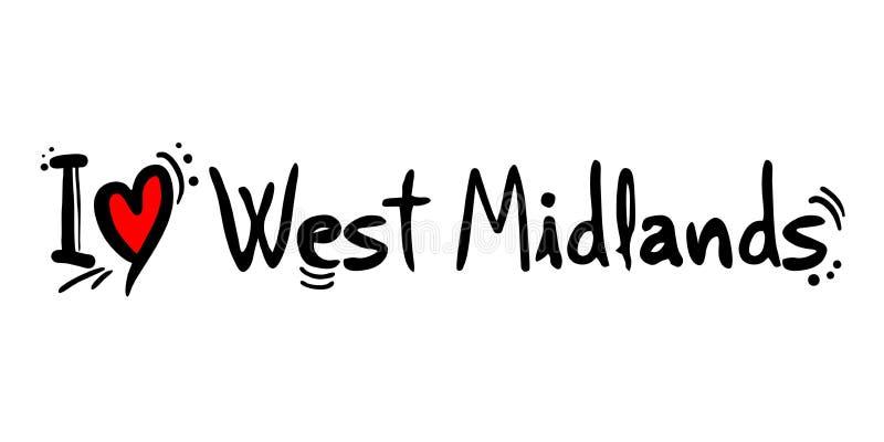 Mensaje del amor de la ciudad del West Midlands ilustración del vector