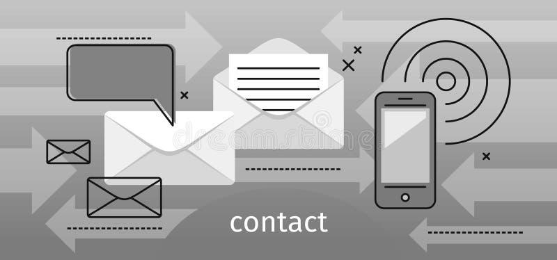 Mensaje del concepto del contacto y burbuja del discurso ilustración del vector