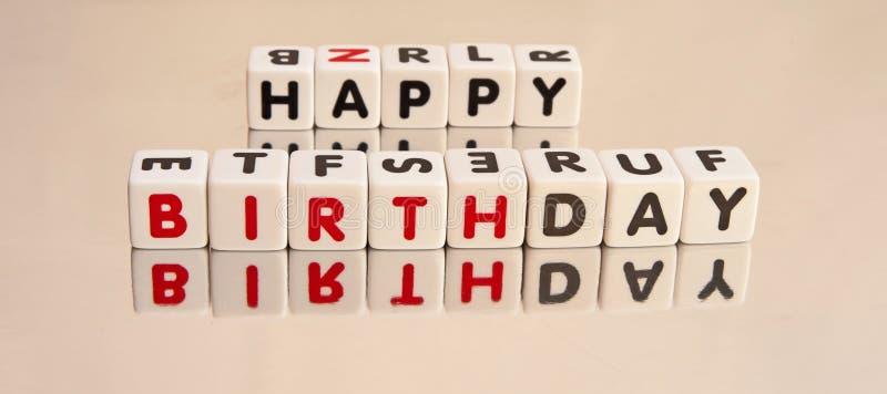 Mensaje del feliz cumpleaños imágenes de archivo libres de regalías