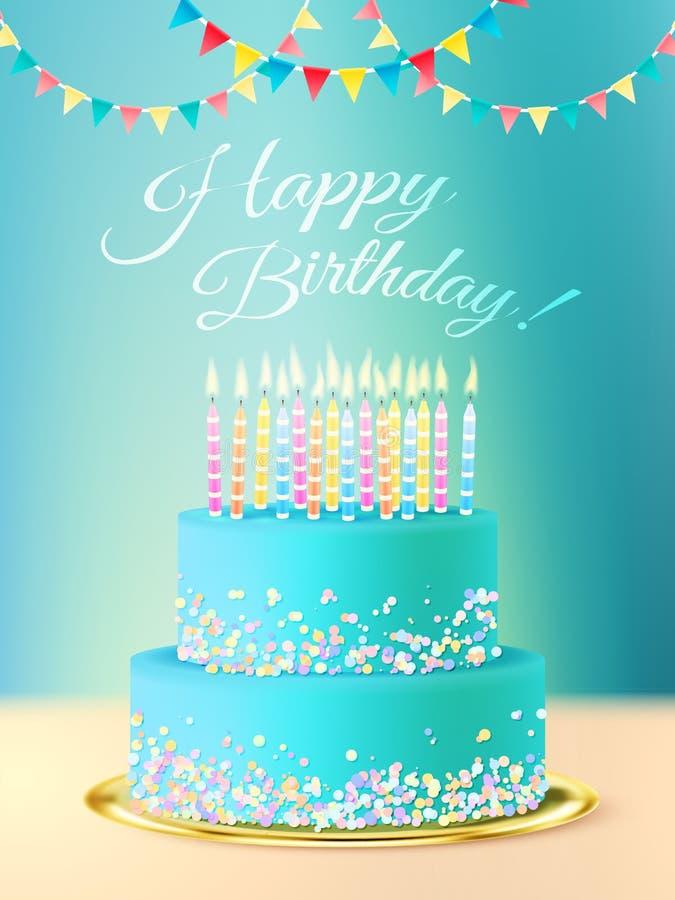 Mensaje del feliz cumpleaños con la torta realista stock de ilustración