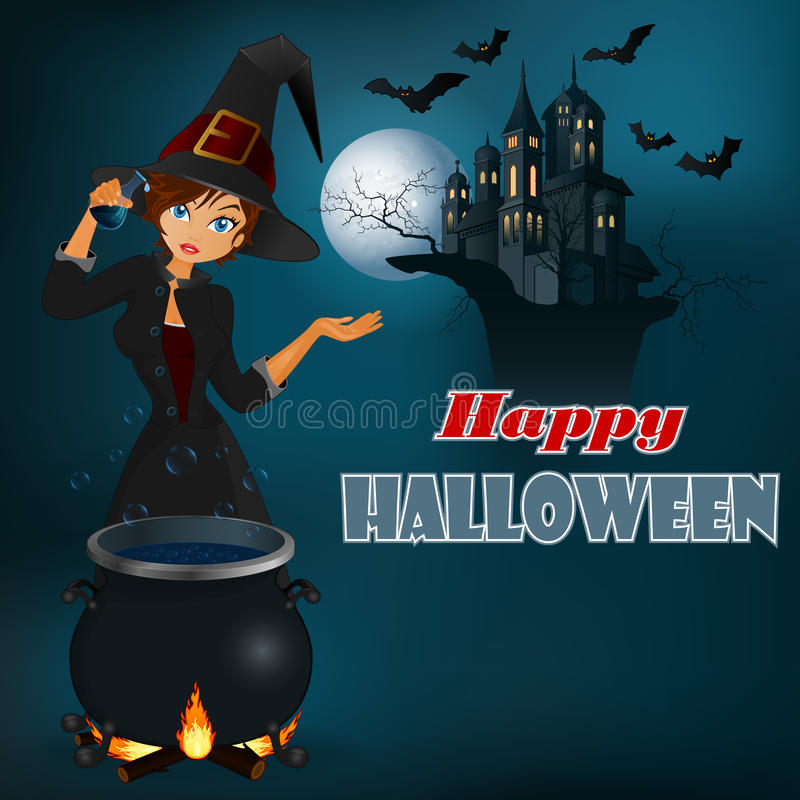 Mensaje del feliz Halloween, fondo gráfico con la bruja y escena del claro de luna libre illustration