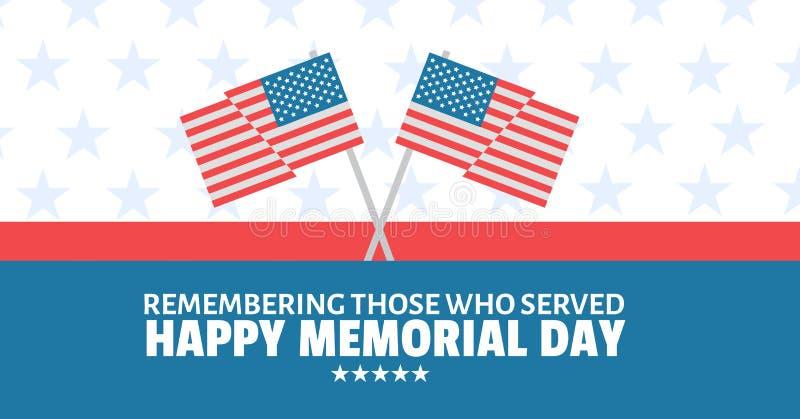 mensaje del Memorial Day con las banderas americanas cruzadas y el fondo blanco y azul rojo de las barras y estrellas stock de ilustración