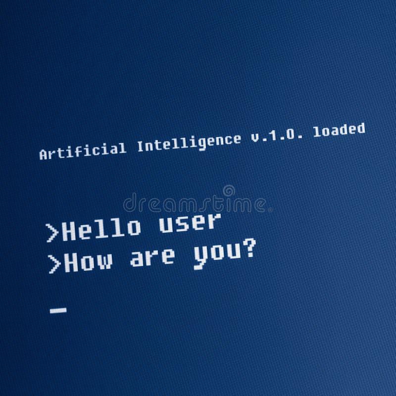 Mensaje del ordenador de la inteligencia artificial fotos de archivo